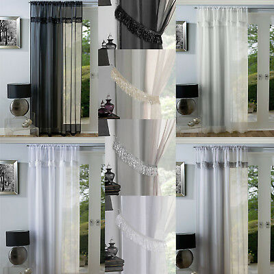 Savannah Tassel Fringe Metallic Sparkle Voile Net Curtain Slot Top Single Panel
