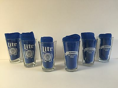 Miller Lite Army ~ We Salute You Pint Glass ~ Set of Six (6) Glasses ~ NEW