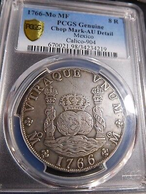 INV #S95 Mexico 1766-Mo 8 Reales w/ Chop Mark Calico-904 PCGS Genuine AU Detail