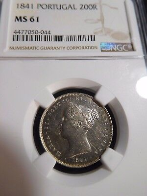INV #S115 Portugal 1841 200 Reis NGC MS-61