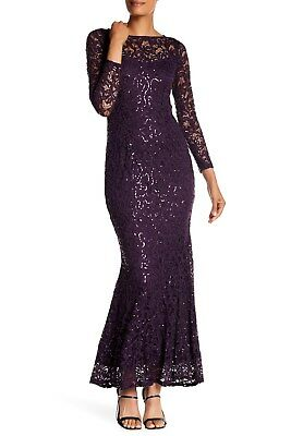 NEW $169 Marina 12 Eggplant Mother of the Bride Gown Keyhole Back Lace Purple