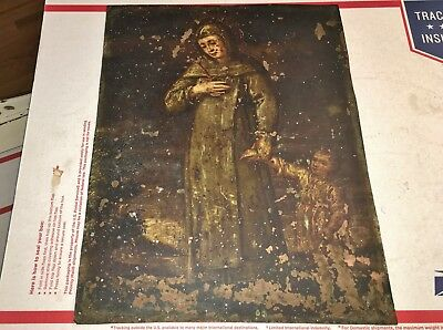 Antique 1800's Virgin Mary Religious Painting On Copper All Original And Beauty!