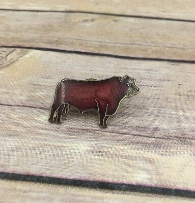 Vintage Red Hereford Steer Poll Bull Cow Pin Cattle Pinback Pin Mafco