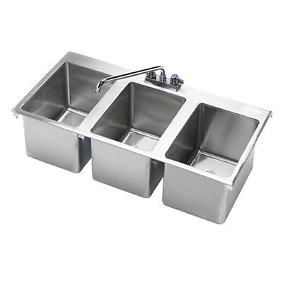 "Krowne Metal HS-3819 3 Compartment 36""W Drop-In Hand Sink"