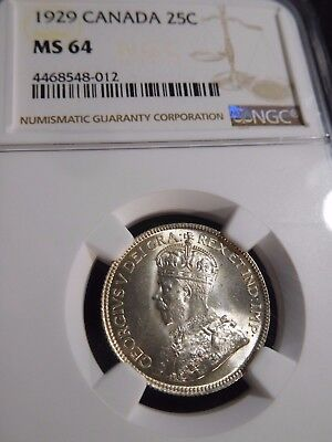INV #S158 Canada 1929 25 Cents NGC MS-64