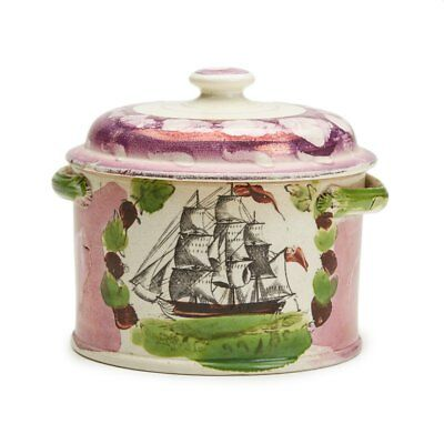 Sunderland Lustre Creamware Shipping Lidded Pot Early 19 C.