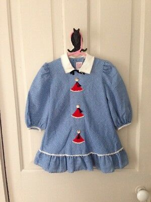 Vintage 1960s/70s Ruth Of Carolina Blue Gingham Dress Girls Face Buttons 4T