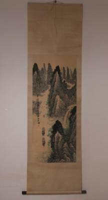 Rare Fine Antique Chinese Song Wenzhi Mark Hand Painting Scroll