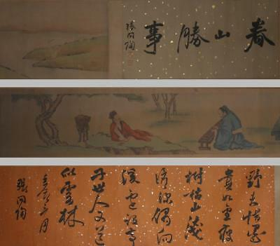 420cm Rare Fine Antique Chinese Zhang Wentao Mark Hand Painting Scroll