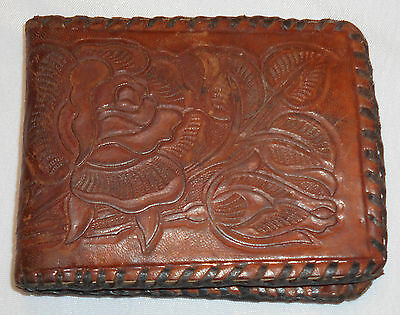 VTG WESTERN Cowboy hand tooled Leather Wallet Zippered Bill Slot Floral Pattern