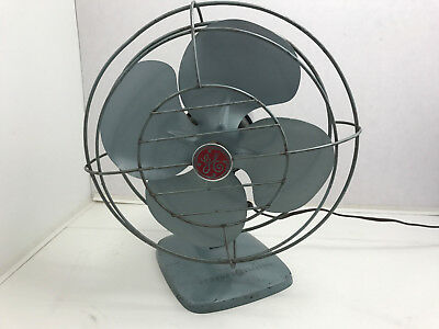 Vtg GE General Electric OSCILLATING METAL FAN Desk Table Wall FM10S61 No.92 Blue