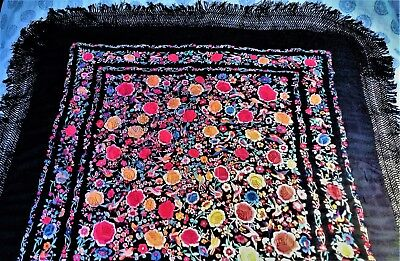 Antique Chinese Canton Piano Shawl Embroidered Silk Vibrant Colours