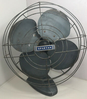 Vintage Antique Vtg SPARTAN ELECTRIC Oscillating Fan art deco look Tested Works