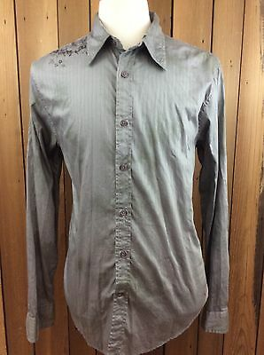 Men's GUESS Vintage Slim Fit Long Sleeve Striped Gray Button Front Shirt Size L