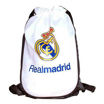 Real Madrid Gym Bag White School PE Fan Crest Fun Gift Official Licensed Product