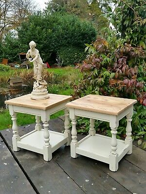 Shabby Chic Pair of Oak Bedside Tables in Antique White Chalk Paint