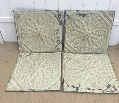 "Set of 4 Antique Shabby 24"" Chic Tin Ceiling Tile Panel Vtg Green Metal  219-17J"