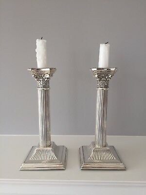 Antique Pair Of Silver Plate Candlesticks