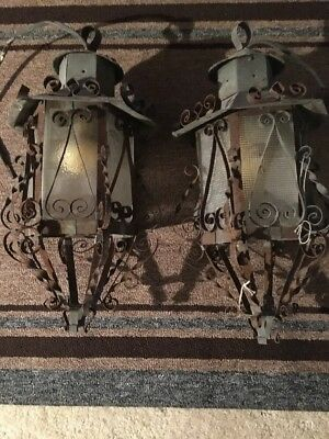 Vintage Pair Porch Wrought Iron Spanish Hanging Lamps