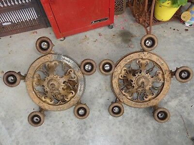 Vintage Pair of Art Deco J.C. Virden 5 Socket Cast Metal Ceiling Fixtures 1930