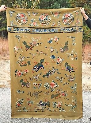 Massive Antique Chinese Textile Embroidery Wall Hanging With Foo Lions