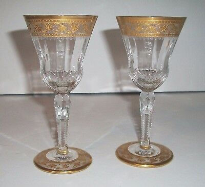Pair of St Louis France cordial liqueur goblets French crystal gold encrusted x2
