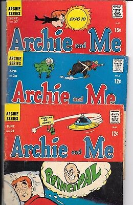 "No Reserve Sale Of * Archie Comics *  Set Of 3 "" Archie And Me  ""from 1968-70"