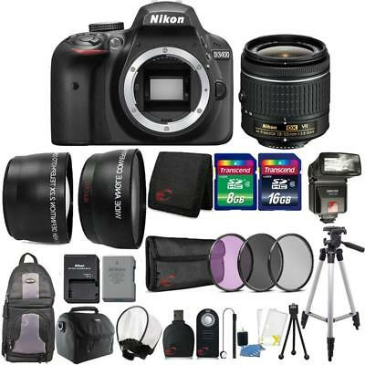 Nikon D3400 24.2MP DSLR Camera 18-55mm Lens + TTL Flash + Complete Camera Bundle