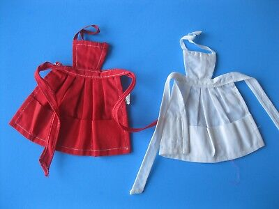 Vintage Barbie Doll RED & WHITE PAK APRON LOT Tagged Clothes Mattel 60's