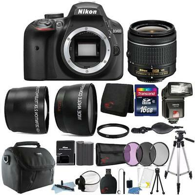 Nikon D3400 24.2MP DSLR Camera 18-55mm Lens + TTL Flash + Top Accessory Bundle