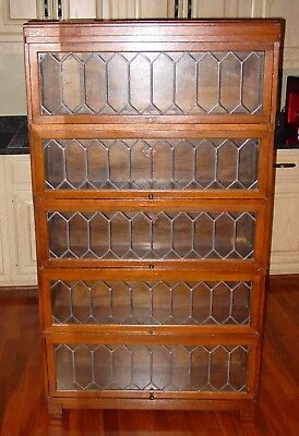 Antique 5 stack Quartered oak barrister bookcase leaded glass----15425