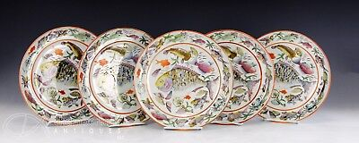 Set Of 5 Very Unusual Antique Chinese Export Porcelain Plates With Fish