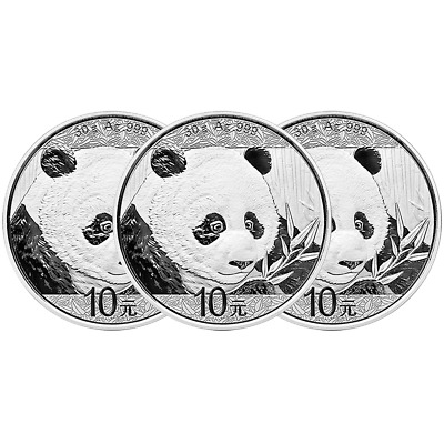 Lot of 3 - 2018 10 Yuan Silver Chinese Panda .999 30g Brilliant Uncirculated in