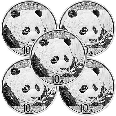 Lot of 5 - 2018 10 Yuan Silver Chinese Panda .999 30g Brilliant Uncirculated in