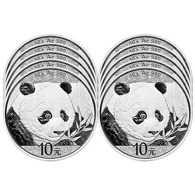 Lot of 10 - 2018 10 Yuan Silver Chinese Panda .999 30g Brilliant Uncirculated in