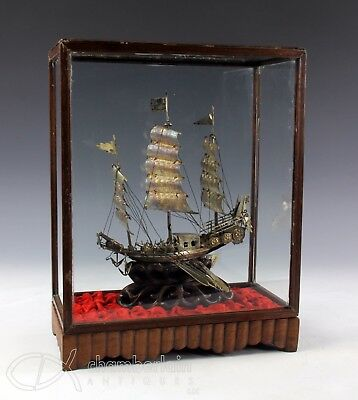 Old Chinese Silver Boat Sculpture In Glass And Wood Case