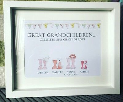 Framed Family Welly Wellington Boot Personalised Picture Christmas Gift/wedding