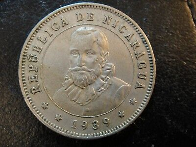 1939 Nicaragua 25 Centavos. Better Date. About Uncirculated to Uncirculated.
