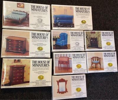 Exacto The House Of Miniatures Lot of 9 Chippendale Doll Furniture Kits MIB
