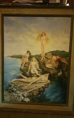 Large antique Oil On Canvas Painting  Sea Nymphs.  Paul Shramm