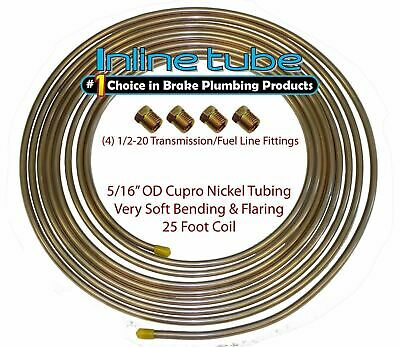 Copper Nickel Fuel Line Tubing 5/16 25 Ft Coil Roll & 1/2-20 Fittings USA CN5