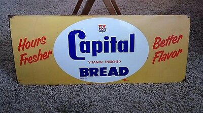 Vintage Capital Bread Advertising Tin Sign - Grocery Store Bakery