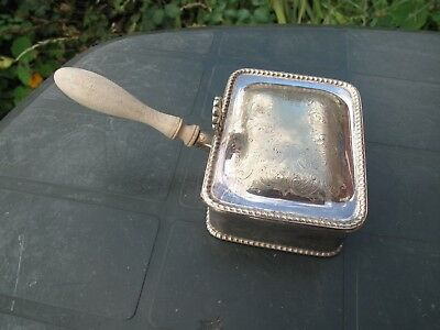 Vintage Silver Plate Silent Butler Crumb/Ash Covered Tray Handled Dish  Engraved