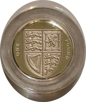 2008 ROYAL SHIELD OF ARMS Piedfort Silver one pound of Great Britain GEM PROOF