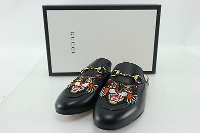 NIB $780 Gucci Black Princetown Tiger Embossed Loafer Mules Size 8