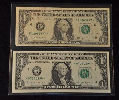 LOT OF TWO $1 Star Federal Reserve note RARE Serial numbers 777, 07070 Repeater