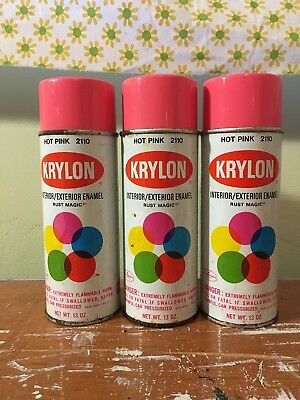 Vintage hot pink Krylon spray paint 3 full cans