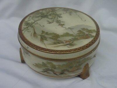 Japanese 3 Footed Covered Satsuma Box Marked Nr