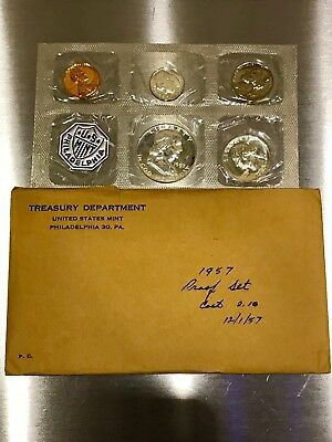 1957 US Mint Coin Proof Set Cellophane Display Treasury Envelope