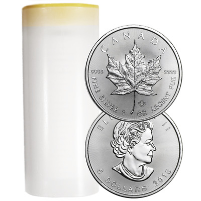 Lot of 25 - 2018 $5 Silver Canadian Maple Leaf 1 oz BU Full Roll